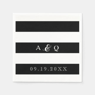 Bold Black Stripes Wedding Paper Napkins