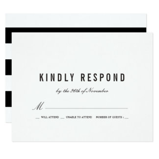 Bold Black Stripes Wedding RSVP Card