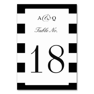 Bold Black Stripes Wedding Table Number