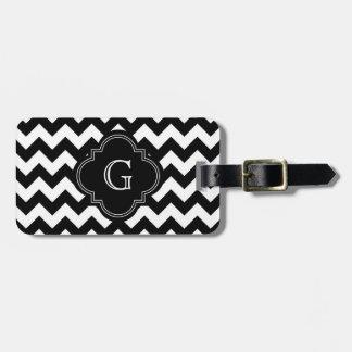 Bold Black White Chevron Zig Zag Pattern Monogram Luggage Tag