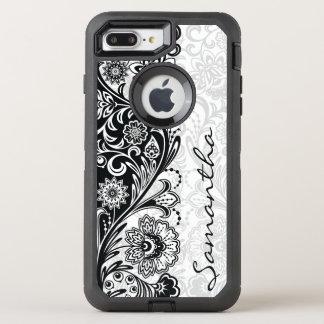 Bold Black White Floral Design Otter Box OtterBox Defender iPhone 8 Plus/7 Plus Case