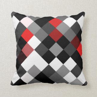 Bold Black White Red Diagonal Pattern Pillow