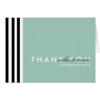 Bold Black & White Striped Wedding Thank You Card