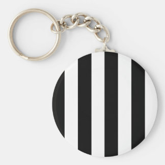 Bold Black & White Stripes Basic Round Button Keychain