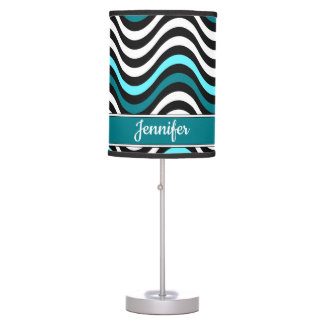 Bold Black White Teal Abstract Wave Monogram Name Table Lamp