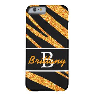 BOLD BLACK ZEBRA STRIPES NAME ORANGE GLITTER BARELY THERE iPhone 6 CASE