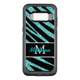 BOLD BLACK ZEBRA STRIPES NAME TEAL GLITTER OtterBox COMMUTER SAMSUNG GALAXY S8 CASE