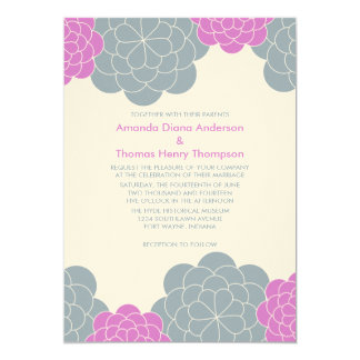 Bold Blooms Modern Wedding Invitations (fucshia)