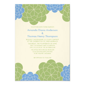 Bold Blooms Modern Wedding Invitations (green)