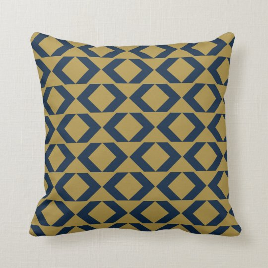 Bold Blue and Gold modern chevron throw pillow