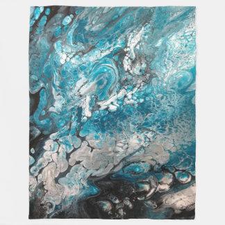 Bold Blue & Black Abstract Fleece Blanket