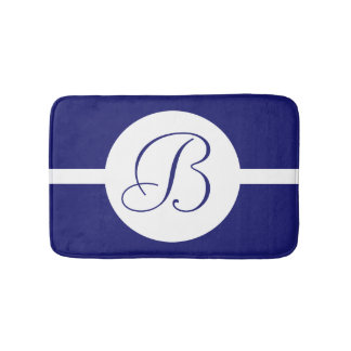 Bold Blue Circle Monogram Bath Mat