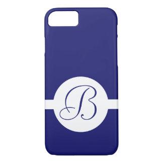 Bold Blue Circle Monogram iPhone 8/7 Case