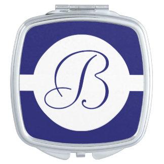 Bold Blue Circle Monogram Makeup Mirror