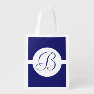 Bold Blue Circle Monogram Reusable Grocery Bag