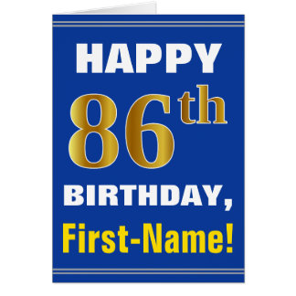 Bold, Blue, Faux Gold 86th Birthday w/ Name Card