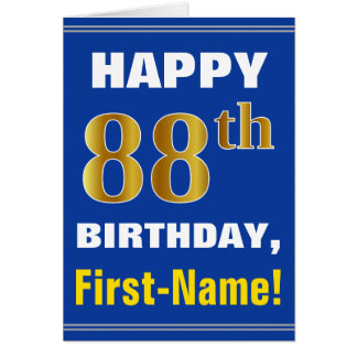 Bold, Blue, Faux Gold 88th Birthday w/ Name Card