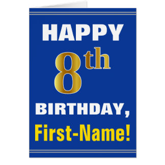 Bold, Blue, Faux Gold 8th Birthday w/ Name Card
