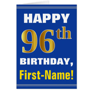 Bold, Blue, Faux Gold 96th Birthday w/ Name Card