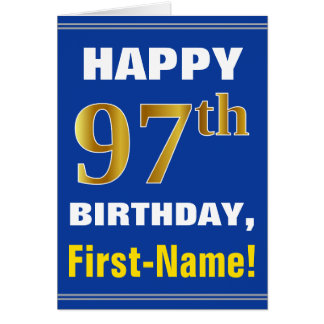 Bold, Blue, Faux Gold 97th Birthday w/ Name Card
