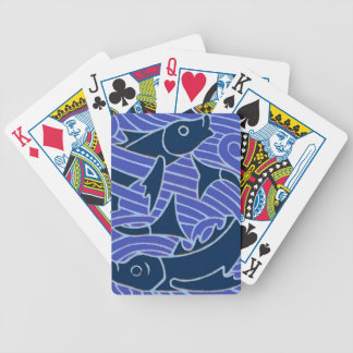 Bold Blue Fish Swimming Bicycle Playing Cards