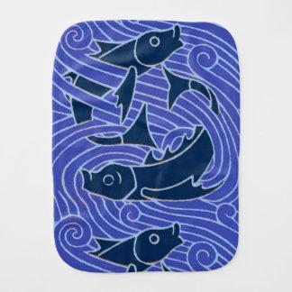 Bold Blue Fish Swimming Burp Cloth