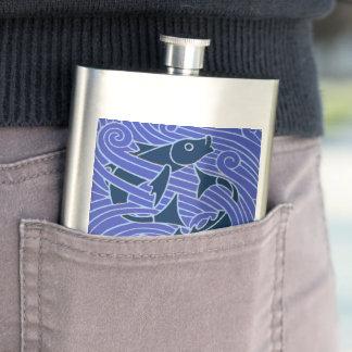 Bold Blue Fish Swimming Hip Flask