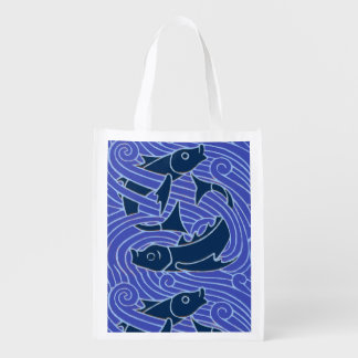 Bold Blue Fish Swimming Reusable Grocery Bag