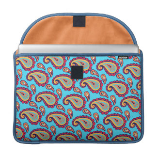 Bold Blue Paisley Sleeve For MacBooks
