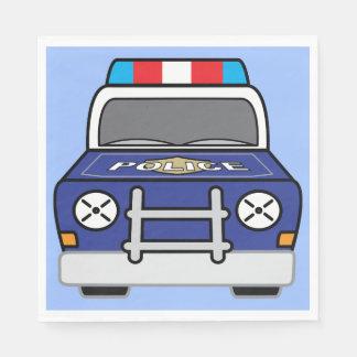 Bold Blue Police Patrol Car Disposable Napkins