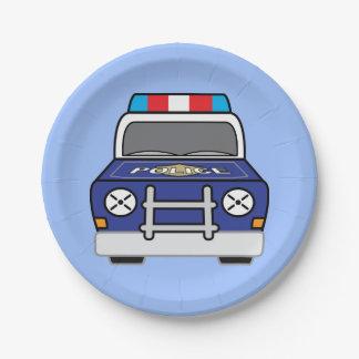 Bold Blue Police Patrol Car Paper Plate