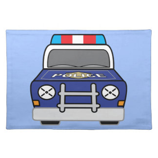Bold Blue Police Patrol Car Placemat