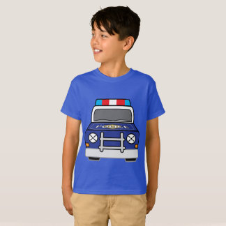 Bold Blue Police Patrol Car T-Shirt