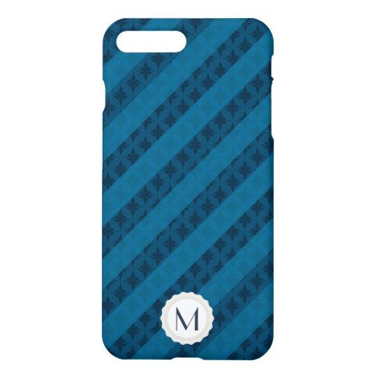 Bold Blue Stripes Personalized Monogram iPhone 7 Plus Case