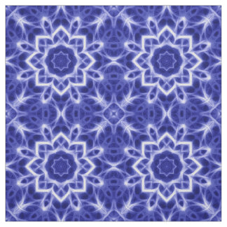Bold Blue White Glowing Mandala Pattern Print Fabric