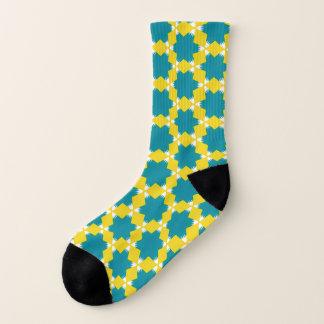 Bold Blue Yellow Six Pointed White Star Geometric Socks