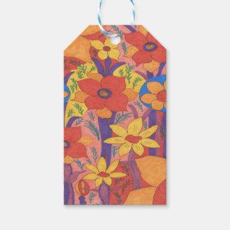Bold Bohemian Orange Garden Print Gift Tags