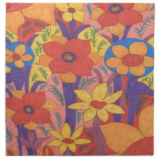 Bold Bohemian Orange Garden Print Napkin