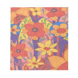 Bold Bohemian Orange Garden Print Notepad