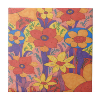 Bold Bohemian Orange Garden Print Tile