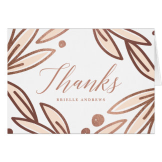 Bold botanical faux foil thank you notecard