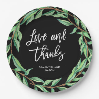 Bold Botanical Wedding | Love and Thanks 9 Inch Paper Plate