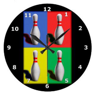 Bold Bowling Pins Large Clock