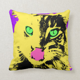 Bold Bright Cat Face Throw Pillow