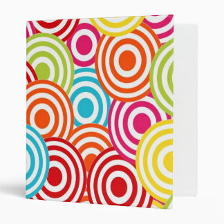 Bold Bright Colorful Concentric Circles Pattern 3 Ring Binders