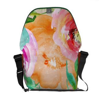 Bold Bright Floral Watercolor Chic Modern Glam Courier Bag
