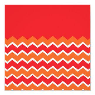 """Bold Bright Orange Red Chevron Zigzag Pattern 5.25"""" Square Invitation Card"""