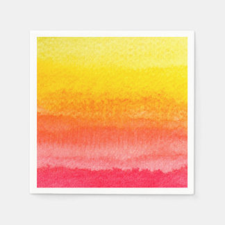 Bold Bright Orange Yellow Ombre Watercolor Paper Napkin