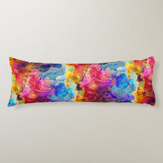 Bold & Bright Watercolor Floral Pattern Body Pillow