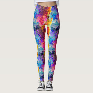 Bold & Bright Watercolor Floral Pattern Leggings